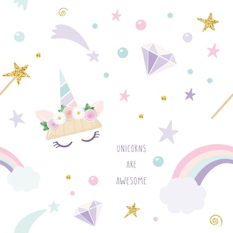 Unicorn magic seamless pattern background.
