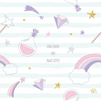 Unicorn magic seamless pattern with rainbow, stars and diamonds.