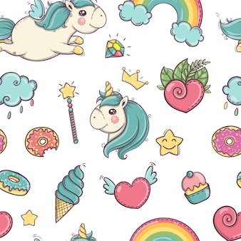 Unicorn, magic wand, rainbow, cloud, donut, smiley star, ice cream, heart, cake seamless pattern isolated on white background eps10
