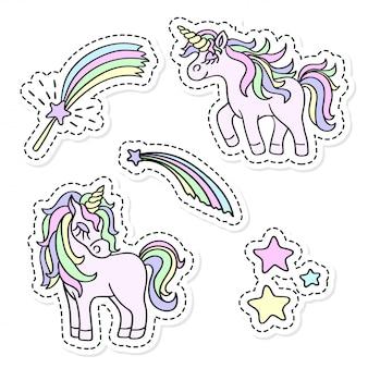 Unicorn and magic wand sticker set