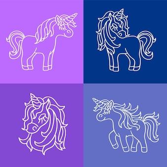 紫青の背景に設定されたユニコーンマジックホワイトアウトラインスケッチ