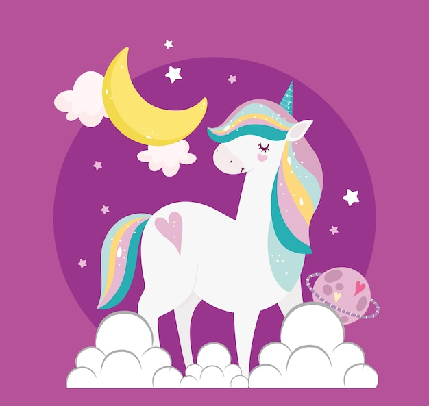 Unicorn moon planet clouds fantasy