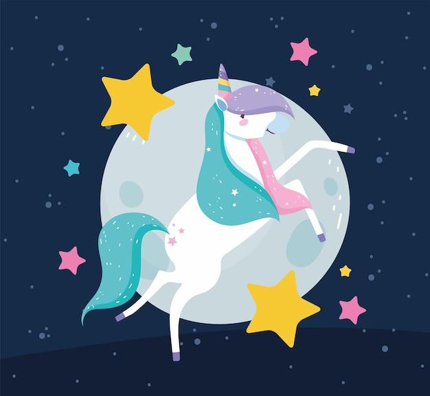 Unicorn moon and stars