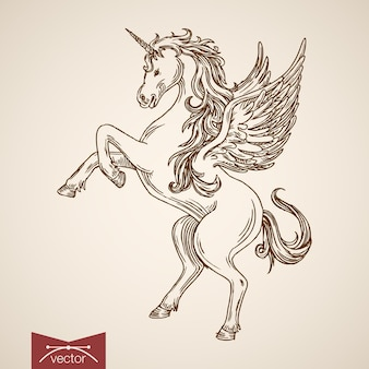 Unicorn mythical flying creature animal wild horse wind standing on hind legs