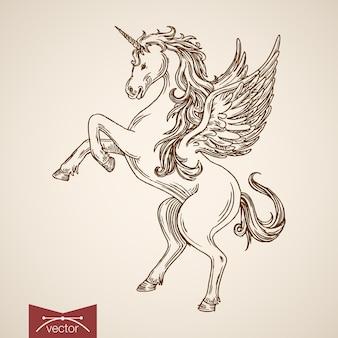 後ろ足で立っているユニコーン神話の空飛ぶ生き物動物野生の馬の風