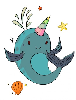 Unicorn narwhal fantasy creature. isolated funny unicorn narwhal whale child cartoon character with horn, shell and starfish sketch drawing. vector cute happy fantasy creature animal doodle art