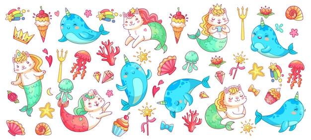 Unicorn narwhal and mermaid cat.