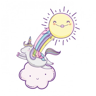 Единорог на облаках милые мультфильмы