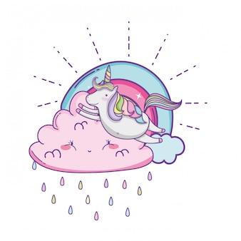 구름 귀여운 만화에 유니콘