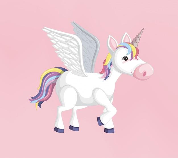 ユニコーンまたはペガサス虹のたてがみとピンクの背景に分離されたホーン
