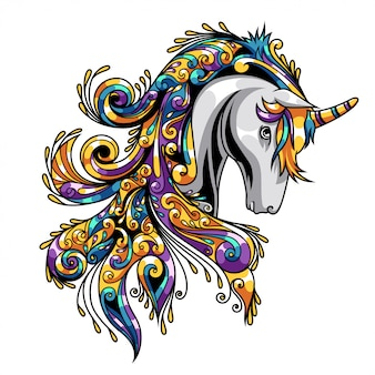 Unicorn ornament illustration and tshirt design premium vector