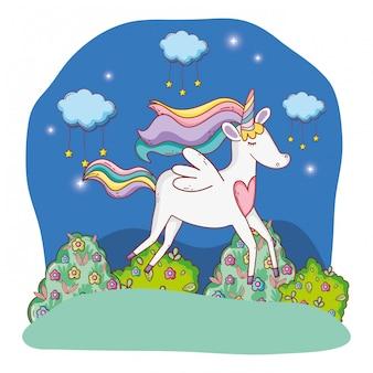 Единорог на открытом воздухе мультфильм