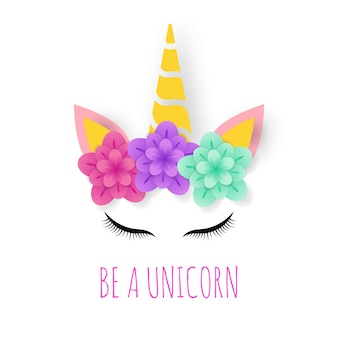 Unicorn paper art logo