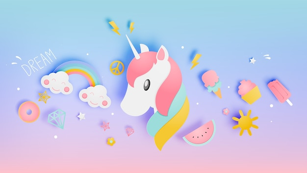 Unicorn in paper art style with various cute icons and pastel scheme vector illustration s