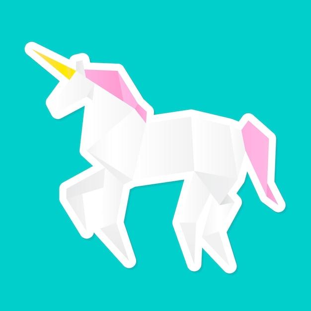 Vettore del poligono del mestiere di carta dell'unicorno