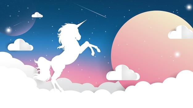 Unicorn paper cut on night sky with moon light