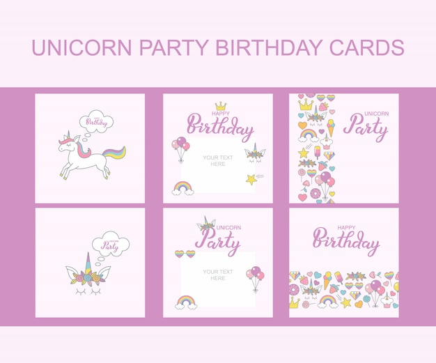 Unicorn party birthday greeting cards