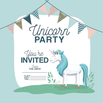 Unicorn party invitation card with floral decoration and garlands