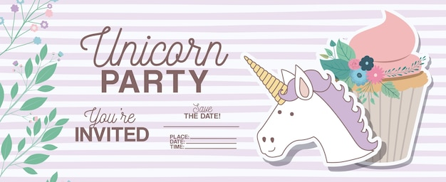 Unicorn party invitation card with floral decoration and cupcake