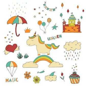 ハートケーキ雲城虹と他のシンボルとユニコーンパッチバッジ