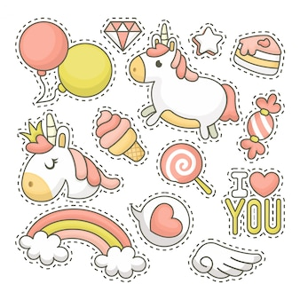 Unicorn patch collection with hand drawn illustration