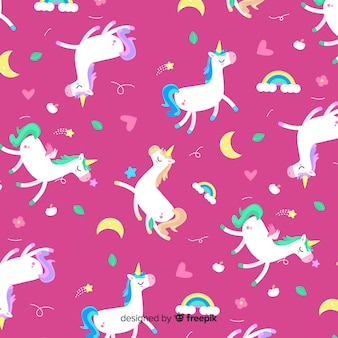 Unicorn pattern in flat style