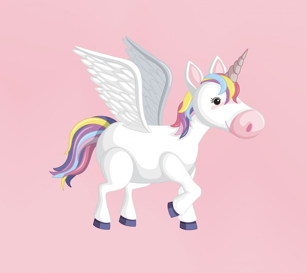 Unicorn or pegasus with rainbow mane and horn isolated on pink background