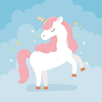 Unicorn pink hair stars decoration fantasy magic dream cute cartoon blue background illustration