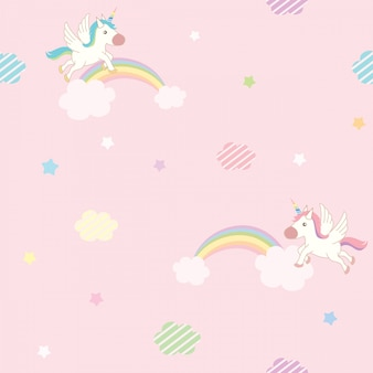 Unicorn pink sky pattern