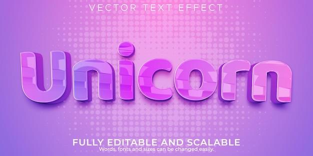 Единорог розовый текстовый эффект, редактируемый розовый и девчачий стиль текста