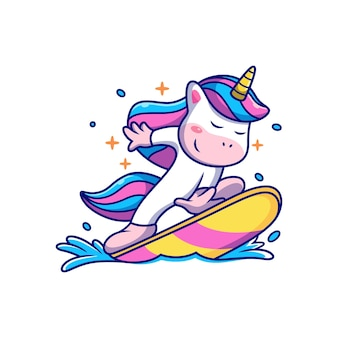 Unicorn playing surfing with cute pose