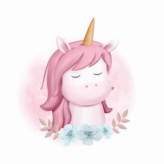 Unicorn portrait baby watercolor illustration