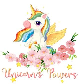 Unicorn power sign on white background