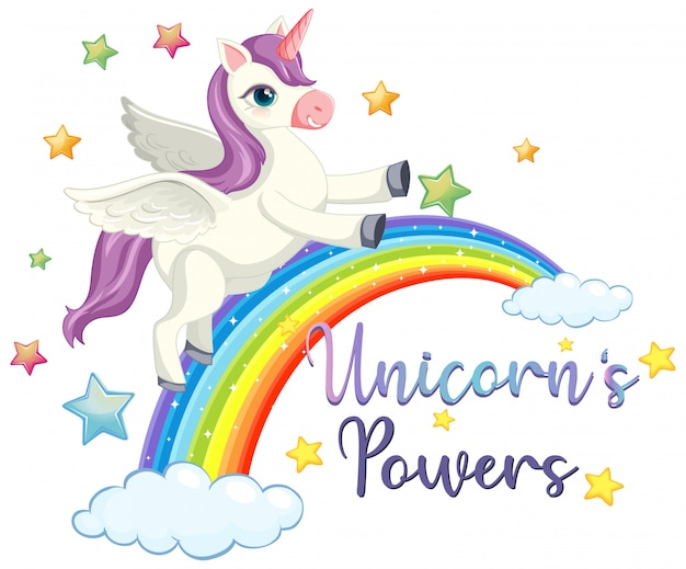 Unicorn power sign on white background