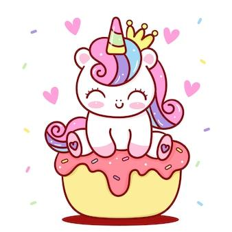 Unicorn princess on cupcake kawaii animal