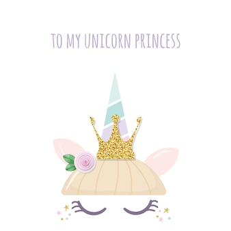 Unicorn princess cute catroon character.