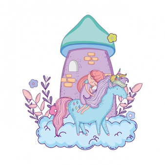 Unicorn and princess with castle in the clouds