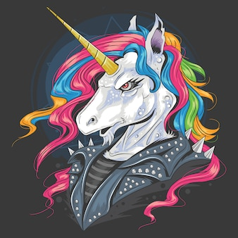 Unicorn punk jacket rider with full colour rainbow hair and gold horn