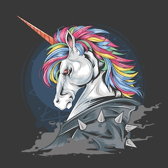 Unicorn punk rock jacket smoke detail vector element