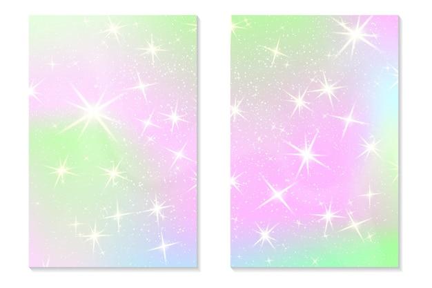 Единорог радуга фон. голографическое небо в пастельных тонах. яркий образец русалки голограммы в цветах принцессы. векторная иллюстрация. единорог фэнтези градиент красочный фон с радужной сеткой.