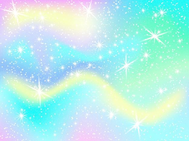Единорог радуга фон. голографическое небо в пастельных тонах. яркий узор русалки в цветах принцессы. векторная иллюстрация. фэнтези градиент красочный фон с радужной сеткой.