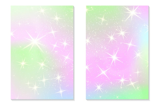 Unicorn rainbow background. holographic sky in pastel color. bright hologram mermaid pattern in princess colors. vector illustration. unicorn fantasy gradient colorful backdrop with rainbow mesh.