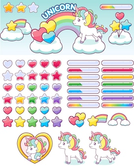 Unicorn rainbow icons ui design set