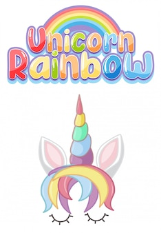 Unicorn rainbow logo in pastel color with cute unicorn and rainbow