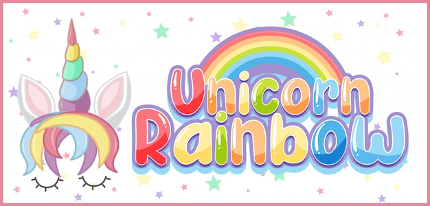 Unicorn rainbow logo in pastel color with cute unicorn and star confetti