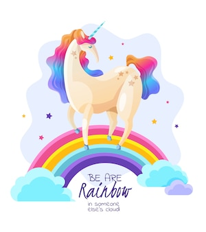 Unicorn on rainbow magic illustration