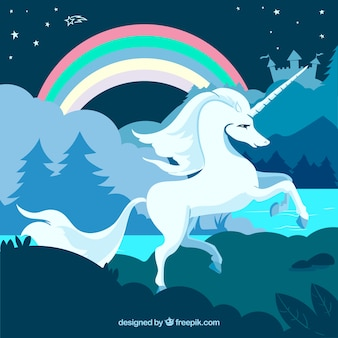 Unicorn and rainbow in the nature