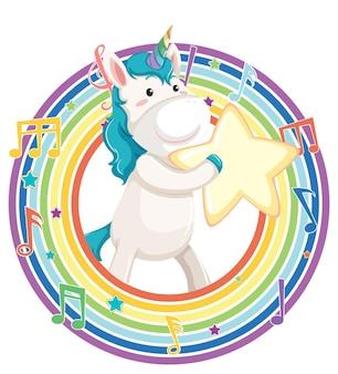 Unicorn in rainbow round frame with melody symbol