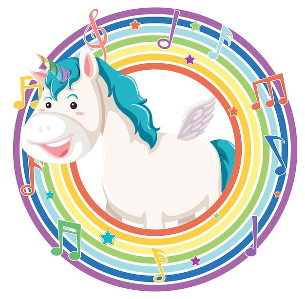 Unicorno in cornice rotonda arcobaleno con simbolo melodia Vettore gratuito