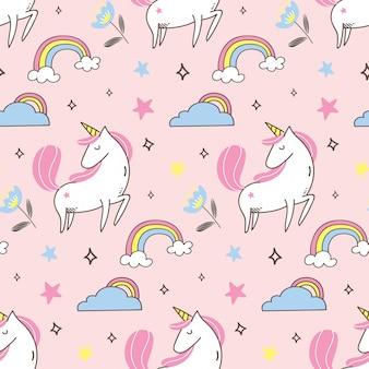 Unicorn and rainbow seamless pattern in kawaii style